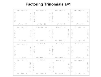 Factoring Trinomials a=1 Fun Puzzle Activity
