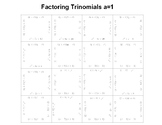 Factoring Trinomials a=1 Fun Puzzle Activity