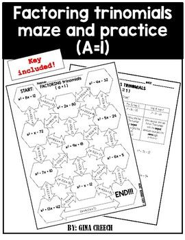 Factoring Trinomials (a=1) Maze and Worksheet