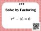 Factoring Trinomials (a=1) - Task Cards *QR Codes*