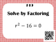 Factoring Trinomials (a=1) - Task Cards *QR Codes*
