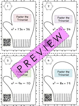 Factoring Trinomials (a = 1) Task Cards with QR Codes