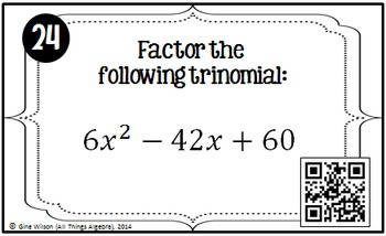 Factoring Trinomials (a = 1) Task Cards
