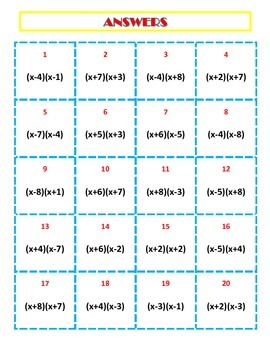 Factoring Trinomials (a=1) Activity
