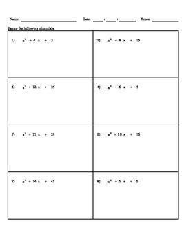 Factoring Trinomials (a=1) - H&I Practice Sheets