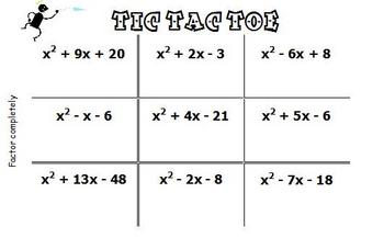 Factoring Trinomials and GCF 18 Problems Tic Tac Toe Review Game