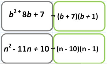 Factoring Trinomials and Multiplying Binomial  Flashcards Printable