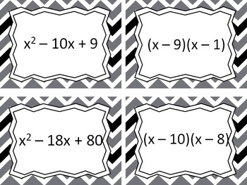 Factoring Trinomials and Multiplying Binomials Task Cards