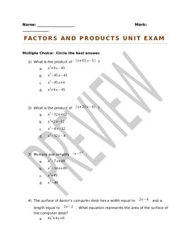 Factoring Trinomials and Products Unit Exam