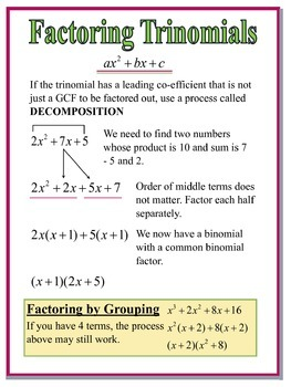 Factoring Trinomials by Decomposition