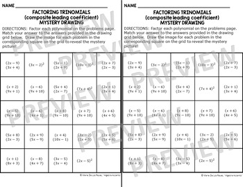 Factoring Trinomials (composite leading coeff) Mystery Drawing