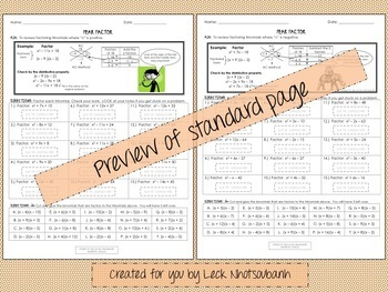 Factoring Trinomials for Beginners Cut & Paste Activity