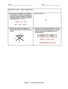 Factoring Trinomials using the X and Box Method Scaffold Notes