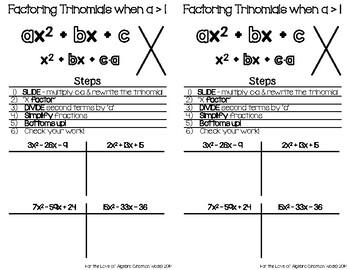 Factoring Trinomials when a > 1
