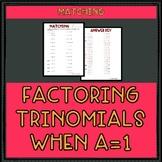 Factoring Trinomials when a = 1 Worksheet