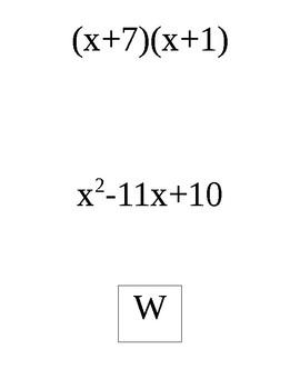 Factoring Trinomials when a is 1 Scavenger Hunt