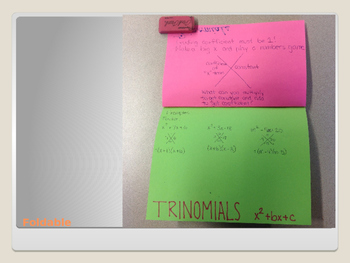 Factoring Trinomials with Foldable