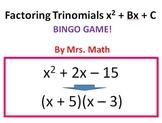 Factoring Trinomials x^2 + bx + c BINGO (Mrs Math)