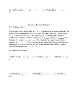 Factoring Polynomials Unit