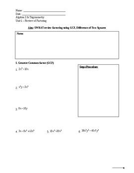 Factoring Unit (Quiz Included)