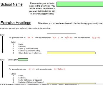Factoring - Worksheets - Whiteboard