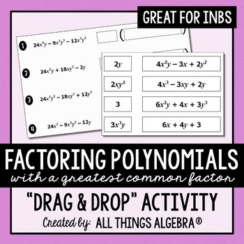Factoring A Greatest Common Factor Gcf Drag And Drop Activity Tpt