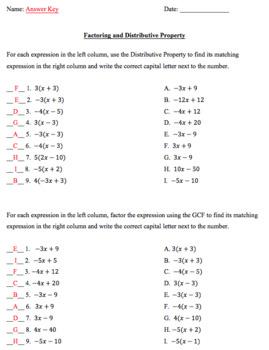 Factoring and Distributive Property Matching Column Worksheet
