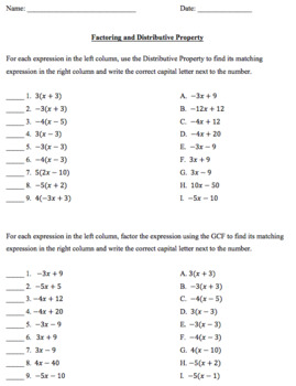 Factoring and Distributive Property Matching Column Worksheet