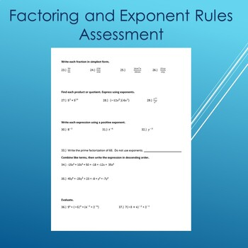 Factoring and Exponent Rules Test