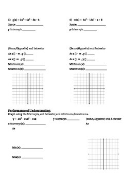 Factoring and Graphing Polynomials in Standard Form - Notes