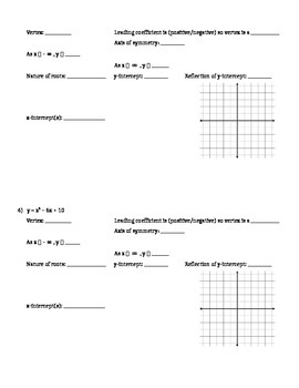 Factoring and Graphing Quadratics in Standard Form (a = 1) - Assignment