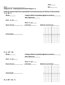 Factoring and Graphing Quadratics in Standard Form (a > 1) - Assignment