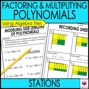 Factoring and Multiplying Polynomials Middle School Math Stations