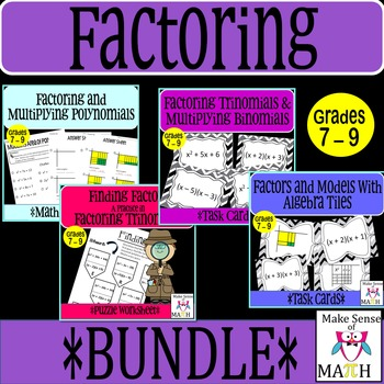 Factoring and Multiplying Binomials Middle School Math Bundle