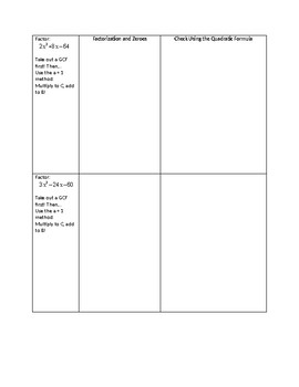 Factoring and Quadratic Formula T Chart