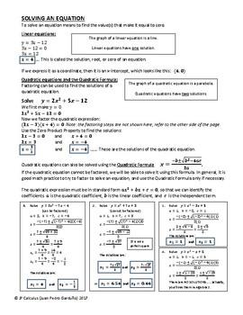 Factoring and Quadratics Keep Sheet