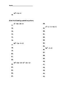 Factoring and Solving Quadratics Quiz