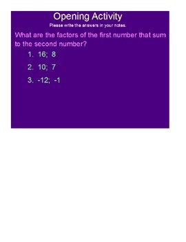 Factoring and Solving Polynomials SmartBoard Lessons