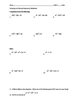 Factoring and Solving Polynomials Worksheet