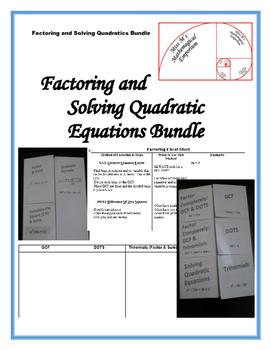Factoring and Solving Quadratic Equations Bundle