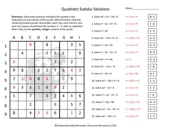 Factoring and Solving Quadratics - Sudoku Puzzle