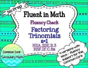 Factoring Quadratics, a is 1 Fluency Check / Quiz: No Prep Fluent in Math Series