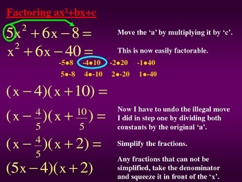 Factoring ax^2+bx+c Using the Illegal Move Method