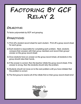 Factoring by GCF and Grouping Relay 2 (Game)