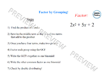 Factoring by Grouping Lesson 1 of 2