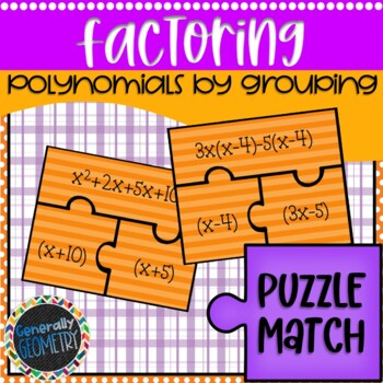 Factoring by Grouping Puzzle Match; Algebra 1
