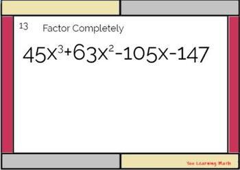 Factoring by Grouping: Task Cards - 20 Problems