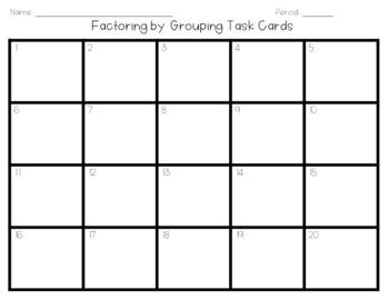 Factoring Quadratics - Grouping Task Cards