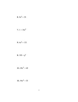 Factoring difference of squares worksheet with detailed solutions