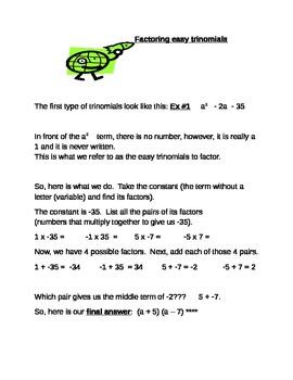 Factoring easy trinomials